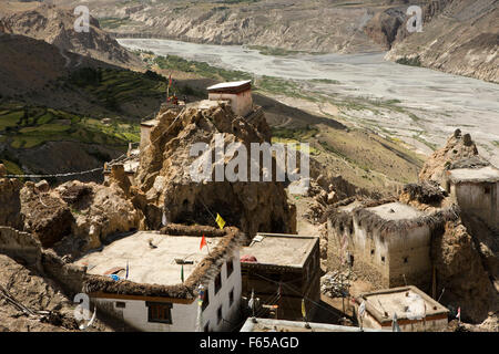 India, Himachal Pradesh, elevated view of Spiti river valley and village rooftops from Dhankar monastery - Stock Photo