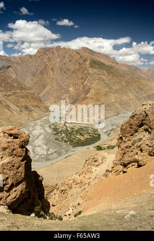 India, Himachal Pradesh, Spiti valley, Shushunag, elevated view of famland at confluence of Pin and Spiti Rivers - Stock Photo