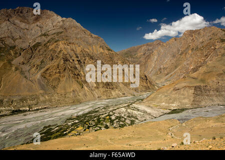 India, Himachal Pradesh, Spiti valley, elevated view of famland at Shushunag, confluence of Pin and Spiti Rivers - Stock Photo