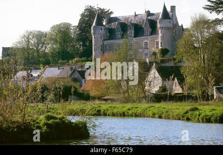 View of Chateau de Montresor castle in Montresor, France - Stock Photo