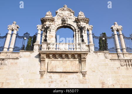 Stone gateway to the Buda Castle in Budapest - Stock Photo