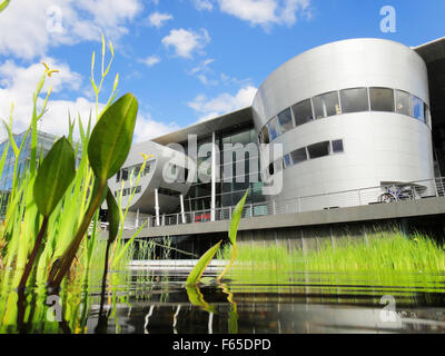 Futuristic building of Transparent Factory in Dresden, Saxony, Germany - Stock Photo
