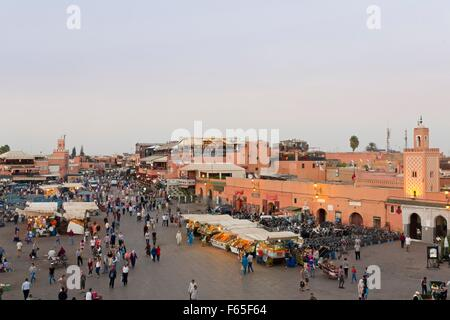 Regular evening drinks and food stalls on Jemaa el-Fna Square in Marrakesh, Morocco - Stock Photo