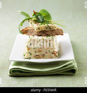 walnut cheese, mesclun and chive terrine - Stock Photo