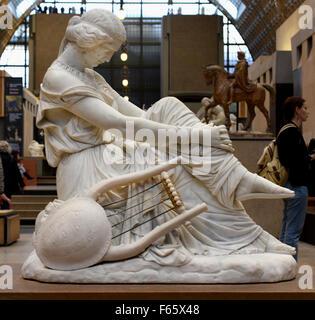 Sapho1852 James Pradier 1792-1852  Swiss Switzerland  ( marble statue H. 1.18; L. 0.67; P. 1.2 ) Musee d'Orsay Paris - Stock Photo