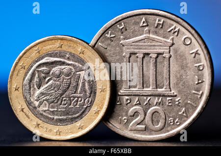 Greek Euro and old drachma - Stock Photo