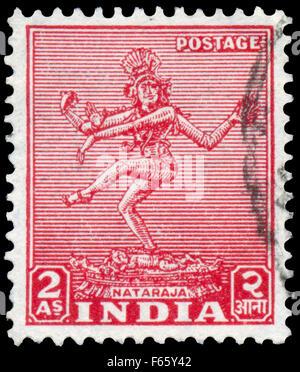 INDIA - CIRCA 1949: Stamp printed in India shows Nataraja, circa 1949. - Stock Photo