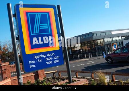 new aldi supermarket sign, fakenham, norfolk, england