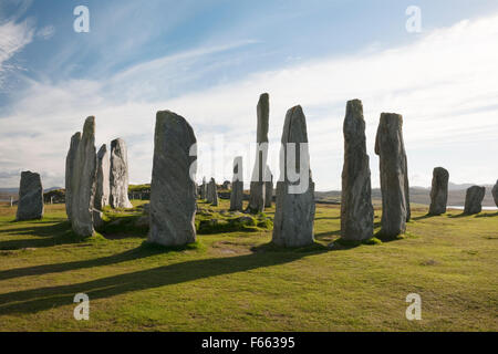 Looking SSW at Callanish (Calanais) Standing Stones, Isle of Lewis: central ring, chambered cairn & tall monolith, - Stock Photo