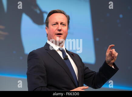 David Cameron,Prime Minister,talks at the annual CBI conference in London - Stock Photo
