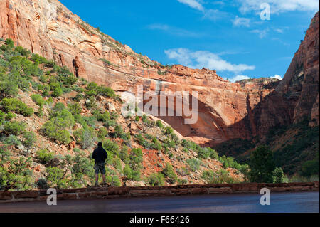 Man looking at the Great Arch of Zion, along the Zion-Mt Carmel highway, Utah, USA. - Stock Photo