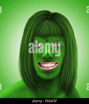 Female grass head on green background - Stock Photo