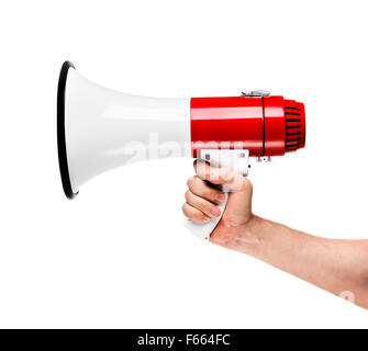 Man holding a white and red megaphone in his hand. - Stock Photo