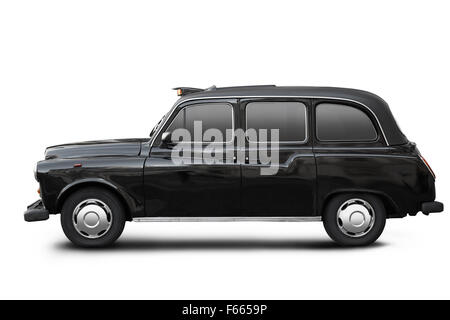 English old taxi, black cab in London isolated on white, clipping path included - Stock Photo