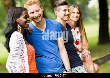 Group of happy young people in summer