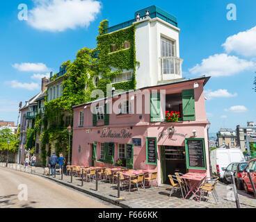 Restaurant La Maison Rose, Montmartre, Paris, Ile-de-France, France - Stock Photo