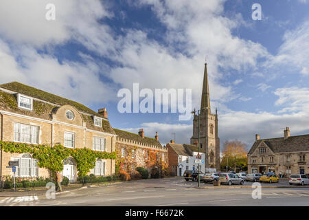 The spire of St Lawrence Church in the Cotswold town of Lechlade on Thames, Gloucestershire, England, UK - Stock Photo