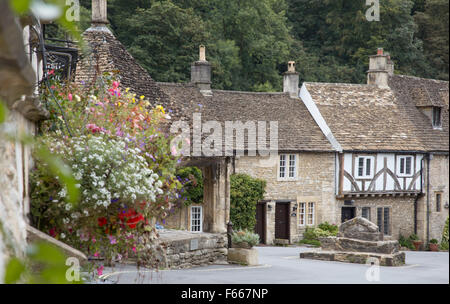Castle Combe regarded by some as  'The Prettiest Village in England',  Wiltshire, England, UK - Stock Photo