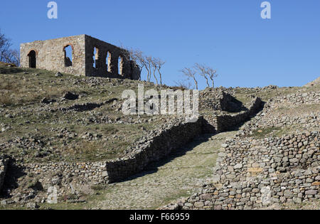 The Ottoman mosque (top) remnants and stone footpath/passage in the foreground after conservation. Myrina castle, - Stock Photo