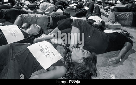 Thousands of Spanish women march against domestic violence. - Stock Photo