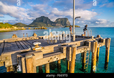 Lord Howe Island, Tasman Sea, New South Wales, Australia, fishing from the jetty at Lord Howe Island Lagoon - Stock Photo