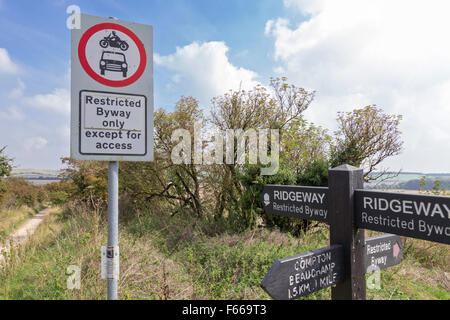 Restricted Byway signs on the Ridgeway long distance footpath near Uffington hill, Oxfordshire, England, UK - Stock Photo