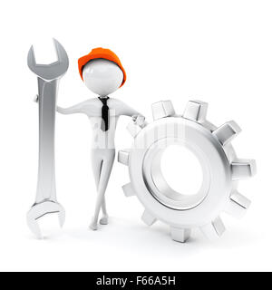Man worker holding a big wrench - Stock Photo