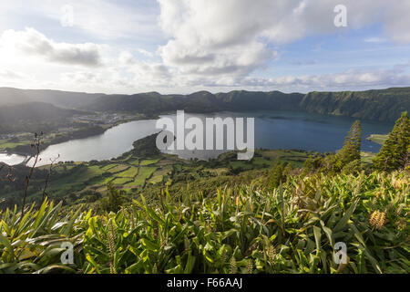 View of the caldera, showing the twin lakes of the Lagoa das Sete Cidad, Ponta Delgada, São Miguel, Azores, Portugal - Stock Photo