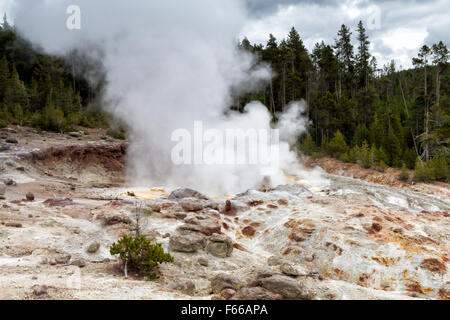 Steamboat Geyser at Norris Geyser Basin, Yellowstone National Park, Wyoming, USA - Stock Photo