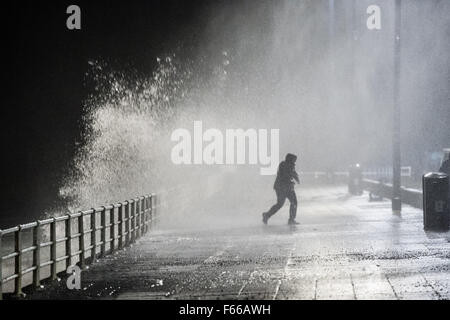 Aberystwyth Wales UK, Thursday 12 November 2015  As Storm Abigail picks up strength and heads towards the west and - Stock Photo