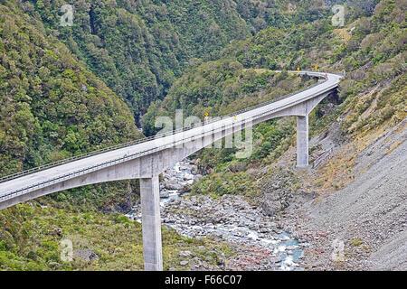 Bridge at Otira Gorge viaduct State Highway, New Zealand - Stock Photo