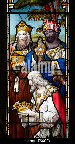 Three Wise Men stained glass, St. Andrew`s Church, Brigstock, Northamptonshire, England, UK - Stock Photo