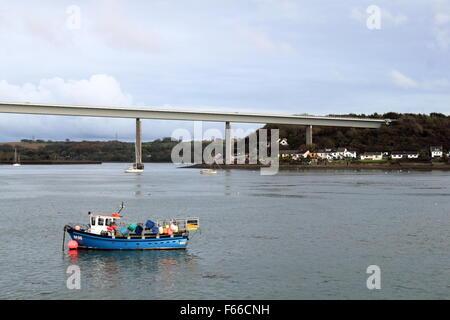 Cleddau Bridge, Neyland, Pembrokeshire, Dyfed, Wales, Great Britain, United Kingdom UK, Europe - Stock Photo