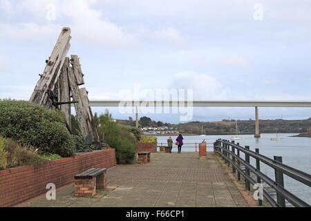 Neyland waterfront and Cleddau Bridge, Pembrokeshire, Dyfed, Wales, Great Britain, United Kingdom UK, Europe - Stock Photo