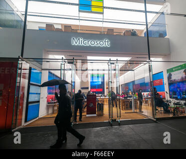 The newly opened Microsoft flagship store on Fifth Avenue in New York, on Tuesday, November 10, 2015. This is the - Stock Photo