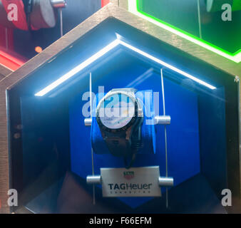 TAG Heuer Connected luxury Android Wear smartwatches in the window of their store on Fifth Avenue in New York on - Stock Photo