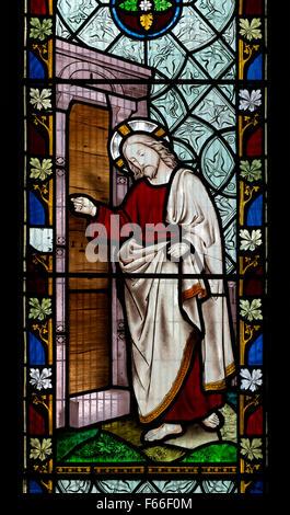 Revelation stained glass, St. Mary`s Church, Southwick, Northamptonshire, England, UK - Stock Photo