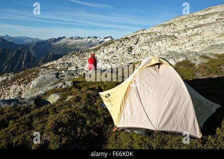WASHINGTON - Campsite on side of the Hidden Lake Peaks in North Cascades portion of the Mount Baker-Snoqualmie National - Stock Photo