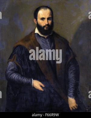 Pâris Bordone - Portrait of a Bearded man, three quarter length Wearing a Black Fur Lined Coat, Holding a Cap in - Stock Photo