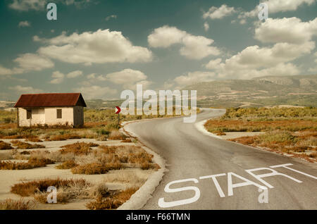 Small House and Start Point - Stock Photo