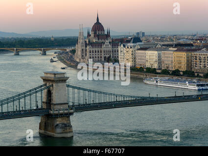 The Parliament building in Budapest, near the river - Stock Photo