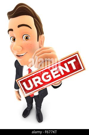 3d businessman holding urgent stamp, isolated white background - Stock Photo