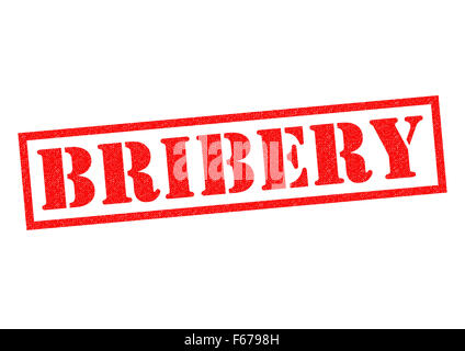 BRIBERY red Rubber Stamp over a white background. - Stock Photo