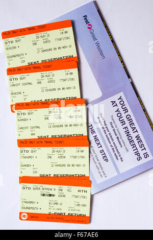 train tickets for train trip between Cynghordy, Wales and Bournemouth, Dorset - Stock Photo