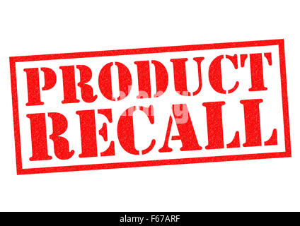 PRODUCT RECALL red Rubber Stamp over a white background. - Stock Photo