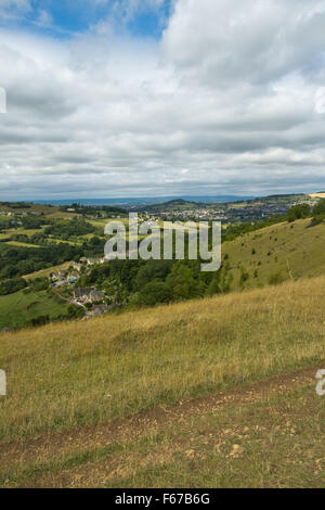 Summer view from Rodborough Common in The Cotswolds, over the Severn Vale towards the Forest of Dean beyond, Gloucestershire, - Stock Photo