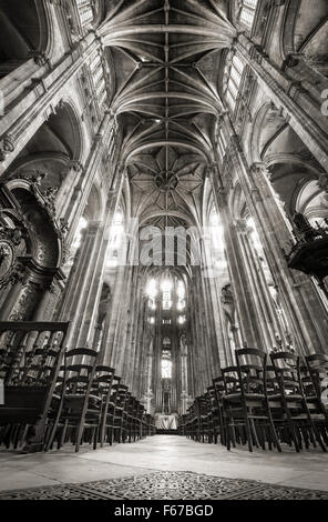 Nave with French Gothic Vaulted Arches, Church of Saint Eustache in the 1st arrondissement, Les Halles, 75001, Paris, France