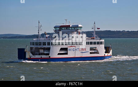 Wightlink Sun Car Ferry sailing across the Solent from Cowes on the Isle of Wight to Lymington, Hampshire, England - Stock Photo