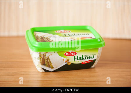 Durra Halawa pistachios dessert, sweet food product 350g in plastic green pack, Arabian product, one package in - Stock Photo