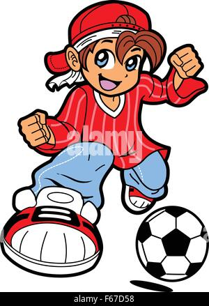 Happy Young Man Boy Soccer Player in Anime Manga Cartoon Style - Stock Photo
